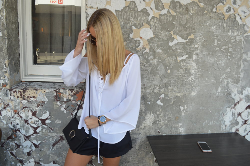 Watch & Bracelet: Christian Paul Top: Amazon the Label Shorts: Amazon the Label Bag: Colette by Colette Hayman