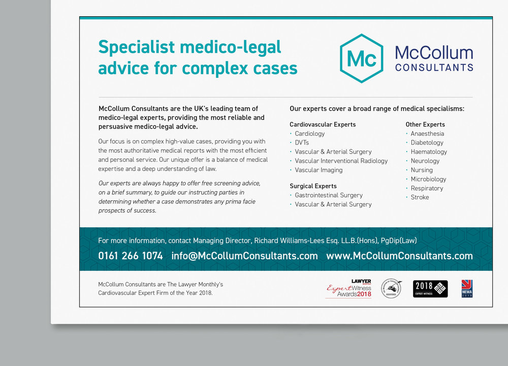 Advert produced for legal magazine, 2018