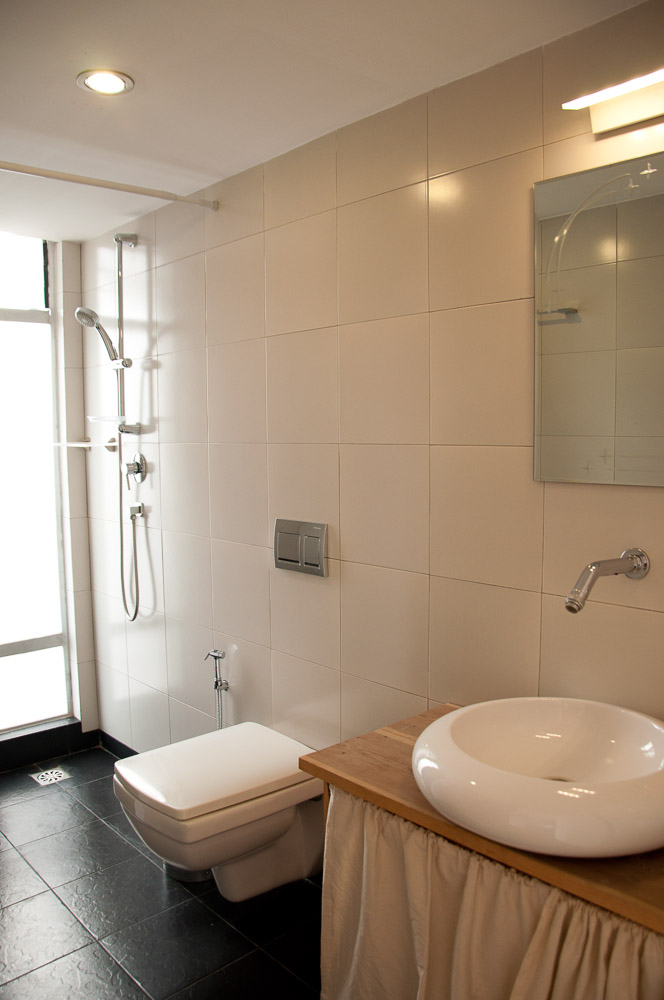 Clean,Sanitized and modern bathroom.