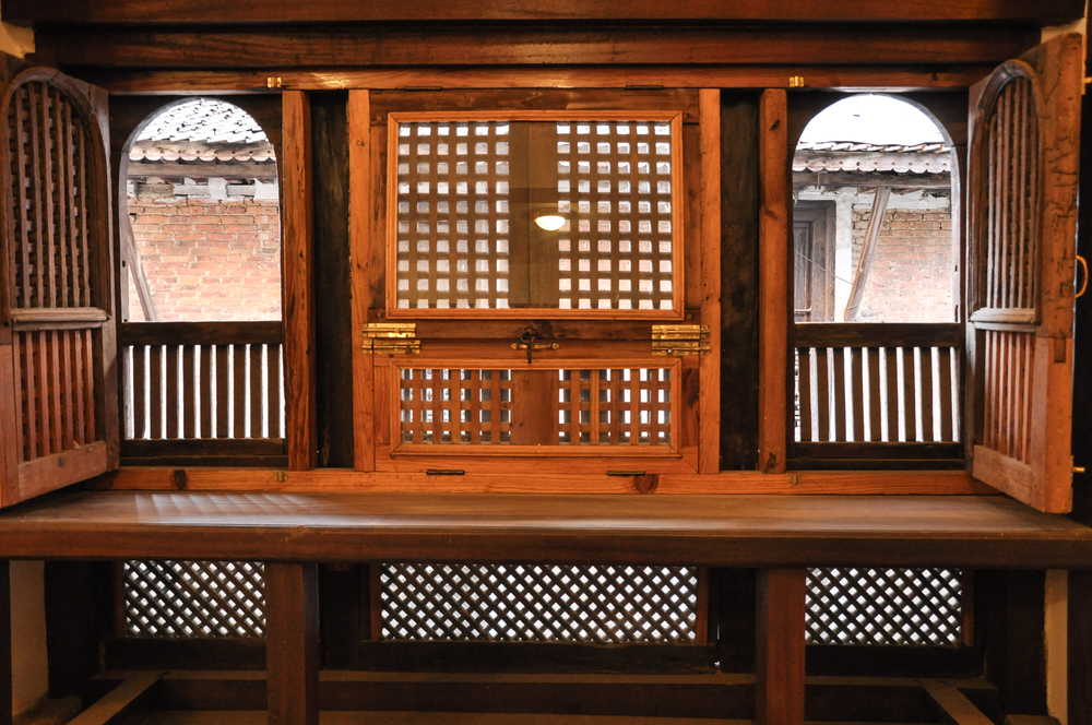 Newari style window in the living room.
