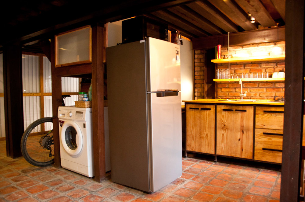 Guests can feel free to use common washing machine and there is private refrigerator to keep your food fresh.