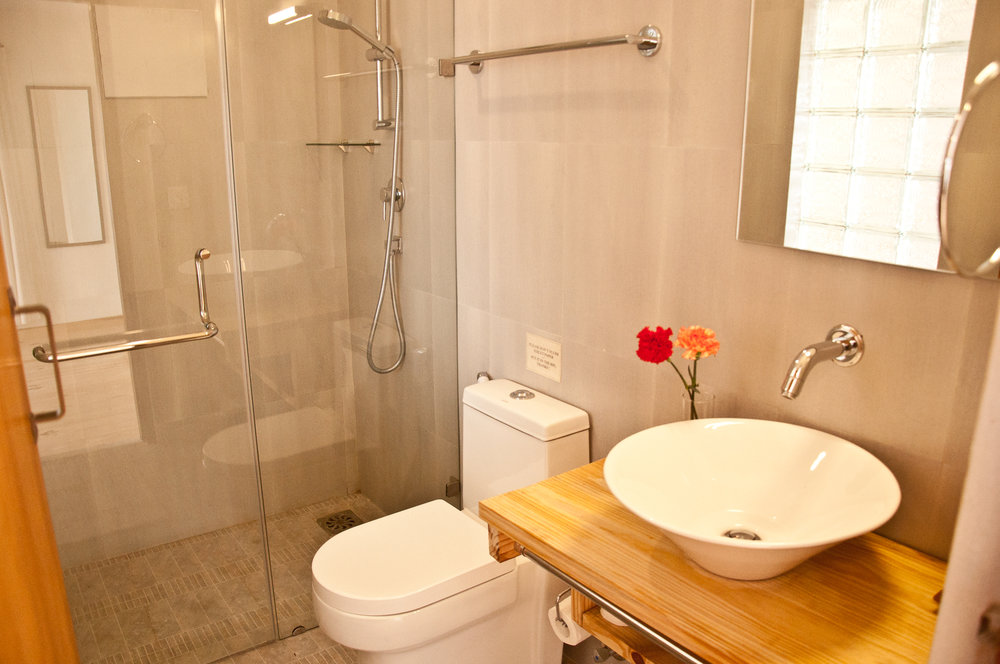 Clean modern bathroom separated with toughened glass.