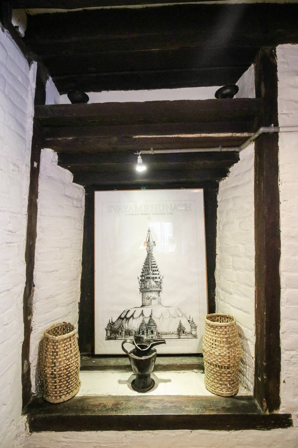 this is the printed picture of Swyambhunath Stupa, one of the famous religious site in Kathmandu Valley.