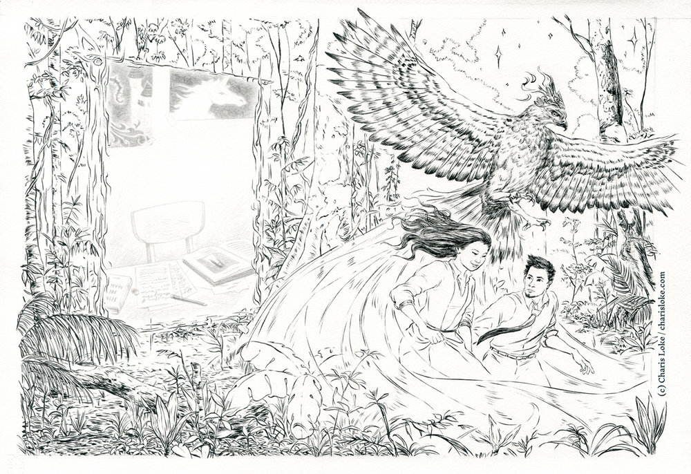 The ink and pencil drawing, before being coloured in Photoshop.