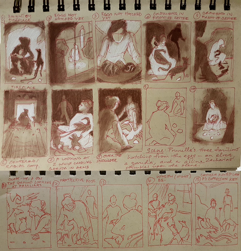 Thumbnails for an interior illustration showing the hatching of Prunella's three familiars.