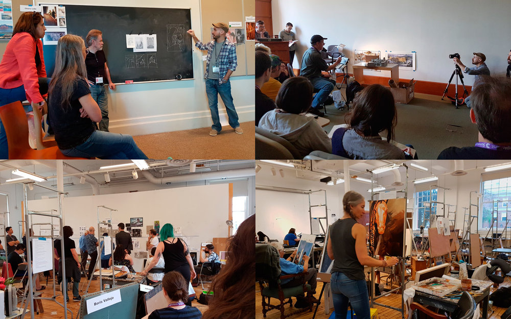 From left: focus group critiques; gouache demonstration by James Gurney; the view in studio 101; Boris Vallejo and Julie Bell working on their paintings.
