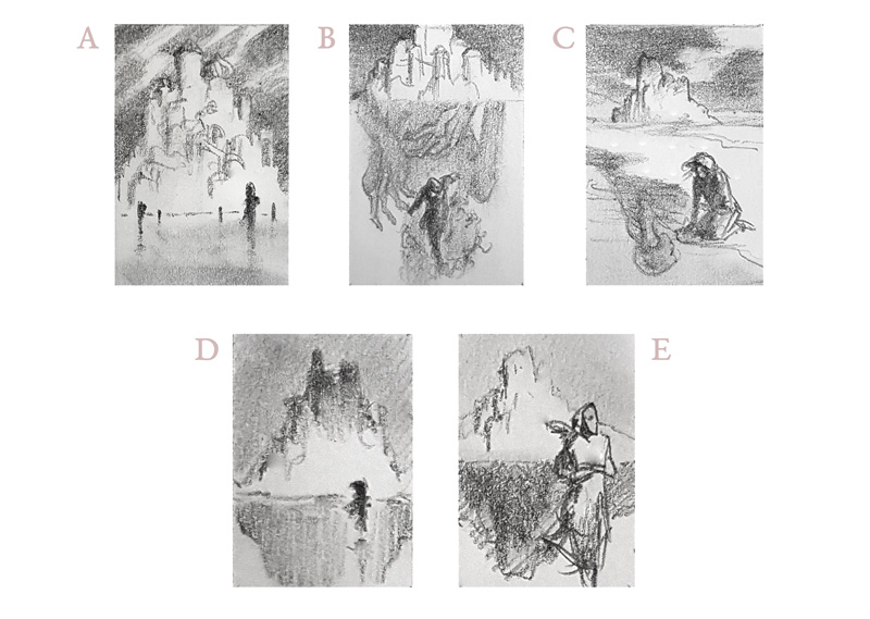 Rough thumbnails. These were presented and critiqued in focus groups consisting of participants and instructors.