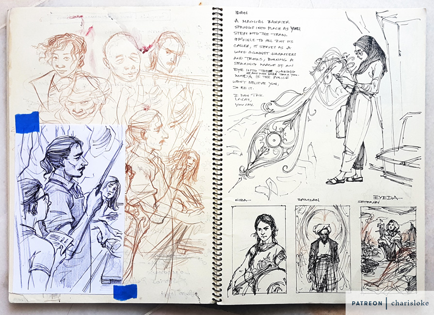 Early sketches for some of the Kejora stories.