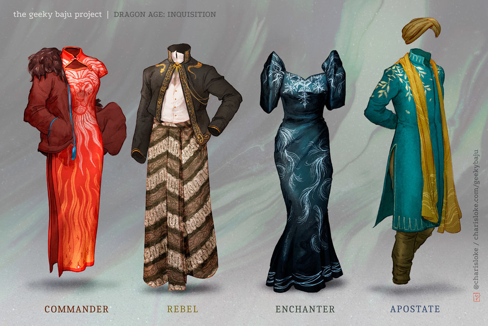 Geeky Baju designs based on Dragon Age: Inquisition.