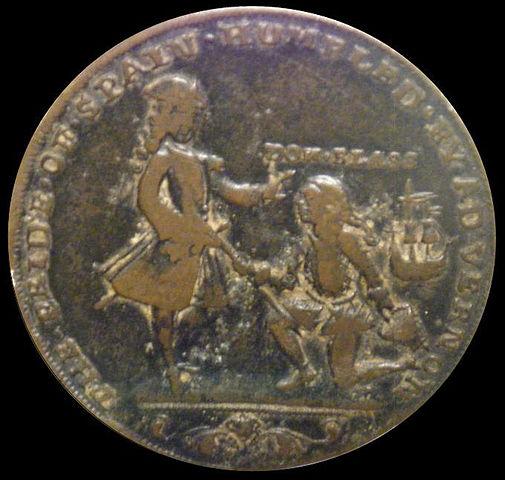Medalla que Sir Vernon se hizo hacer antes de la batalla, con Blas de Lezo de rodillas (cosa complicada dada su pata de palo).