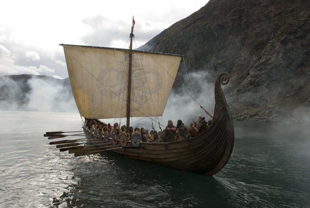 Representación actual de un Drakkar vikingo (es de la película Outlander, que va de Vikingos y extraterrestres)