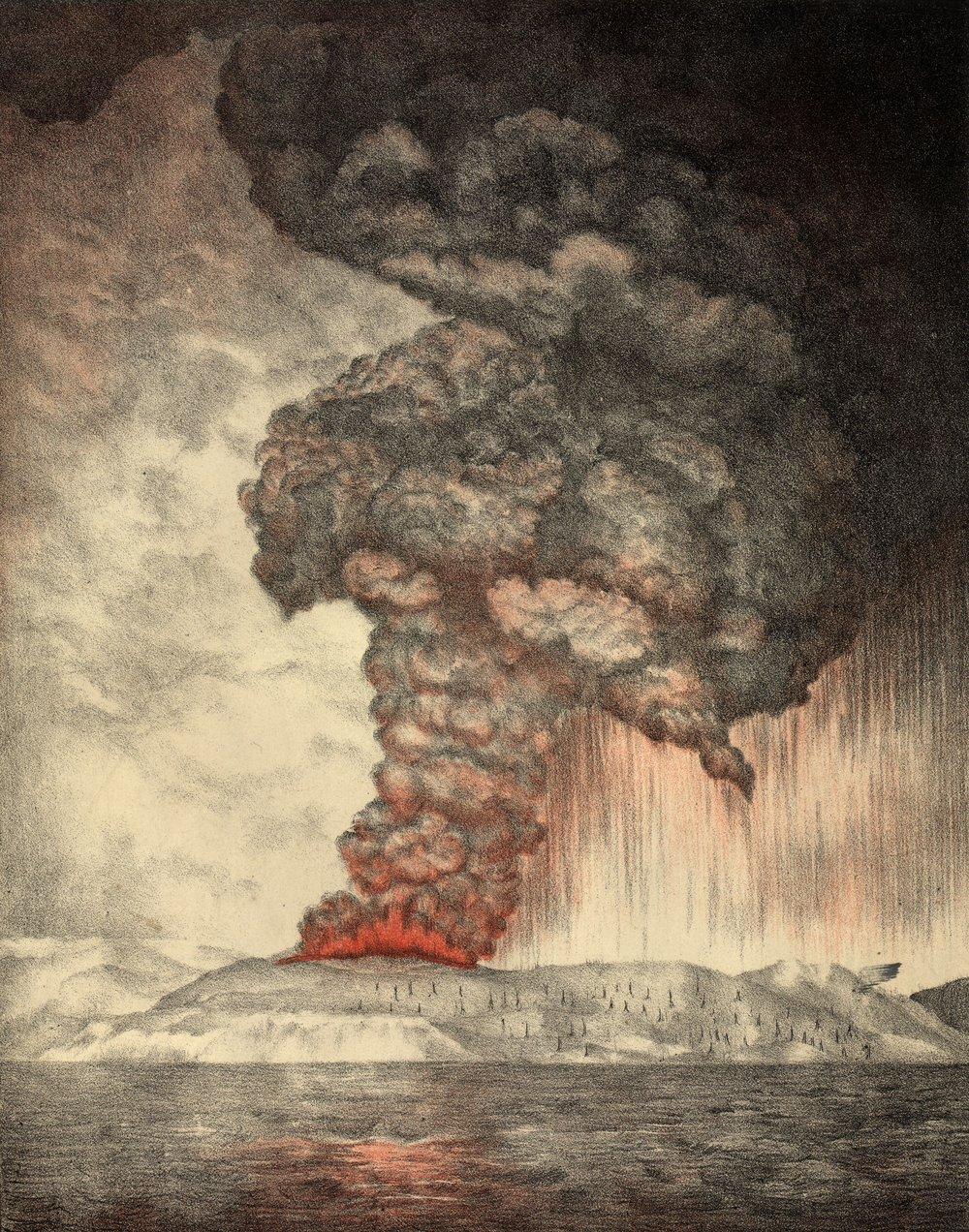 Litografía de la explosión del Krakatoa