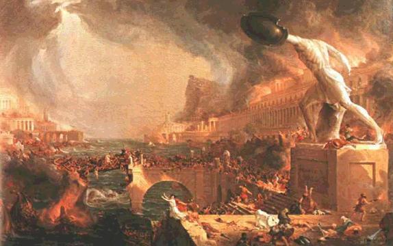 Pintura que representa el incendio de Roma, como se ve, poca cosa