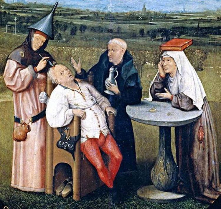 La extracción de la piedra de la locura, El Bosco(1475-1480)