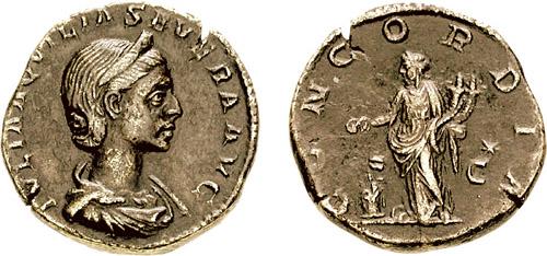 Denario que representa a Julia Aquila Severa