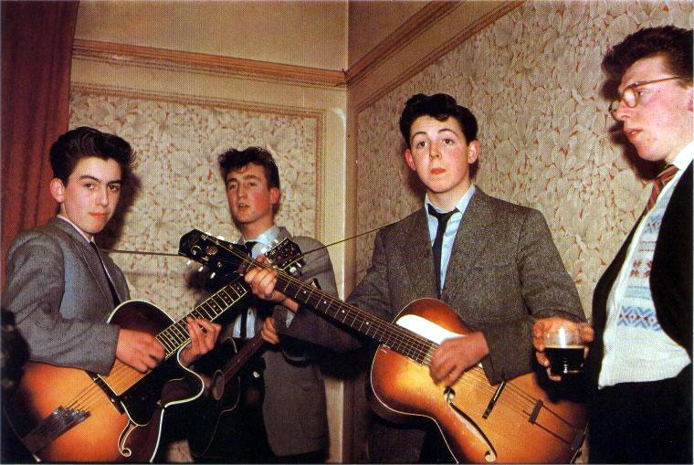 The Quarrymen, con John Lennon, Paul McCartney y George Harrison