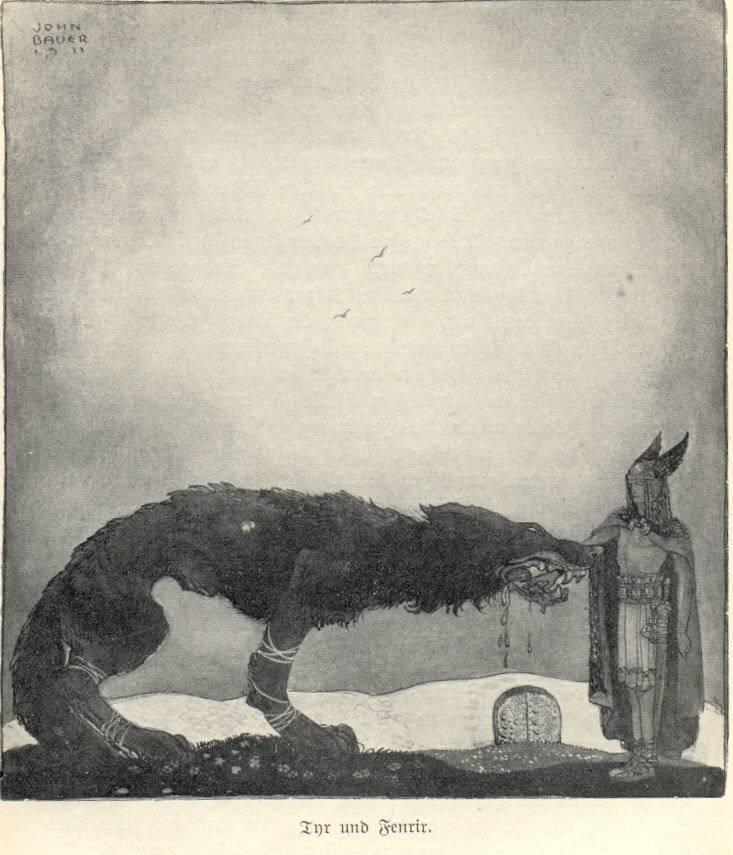 Representación de Fenrir con la mano del dios Tyr en la boca (que claramente perdió)