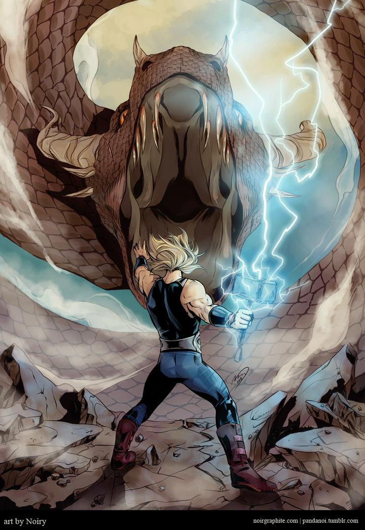 Thor contra Jörmundgander (sacado de http://noiry.deviantart.com/gallery/