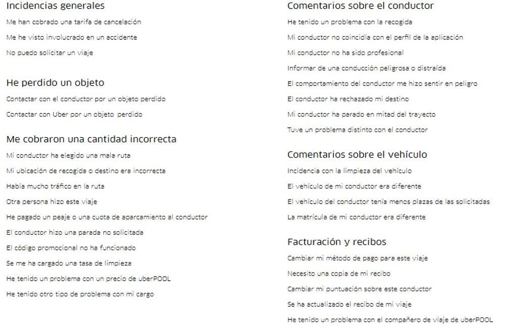 """Un aplauso para el listado de posibles incidencias que puedes tener con Uber y, en especial, para """"HE TENIDO MUCHO TRÁFICO EN MI RUTA""""."""