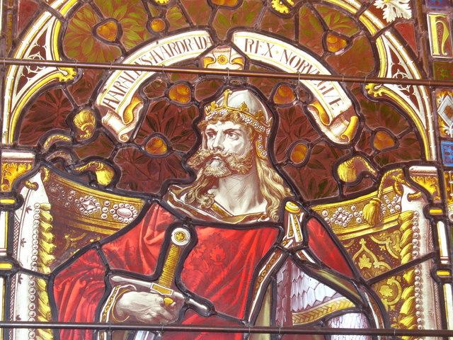 VIdriera de Harald Hardrada como rey de Noruega