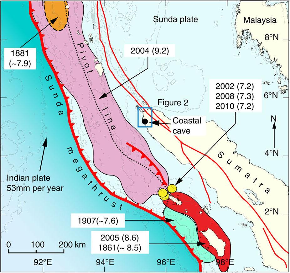 Ajuste tectónico y rupturas de los terremotos mayores a lo largo del megathrust de Sunda. Revista Nature