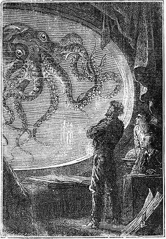Nemo y Aronnax observando a un pulpo
