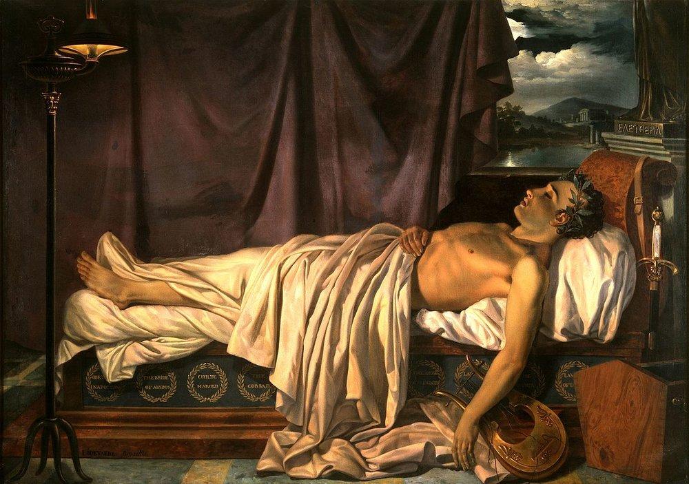 Byron en su lecho de muerte, realizado por Joseph-Denis Odevaere en 1826