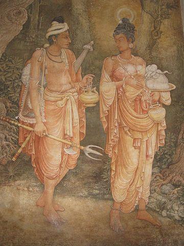 El príncipe Danta y la princesa Hemamala, fijaos que le brilla el pelo, no es el acondicionador, es el Diente