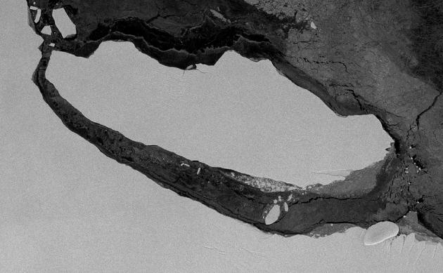 El Iceberg tiene el tamaño del estado de Delaware (EEUU).Copernicus Sentinel-1 via BAS