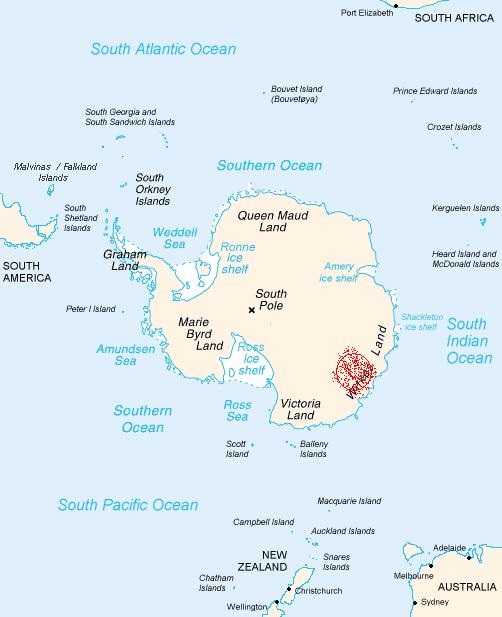 Mapa de la Antártida donde aparece la zona del Crater