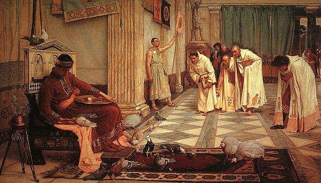 Cuadro del Emperador Honorio. (Los favoritos del Emperador Honorio, de J.W. Waterhouse