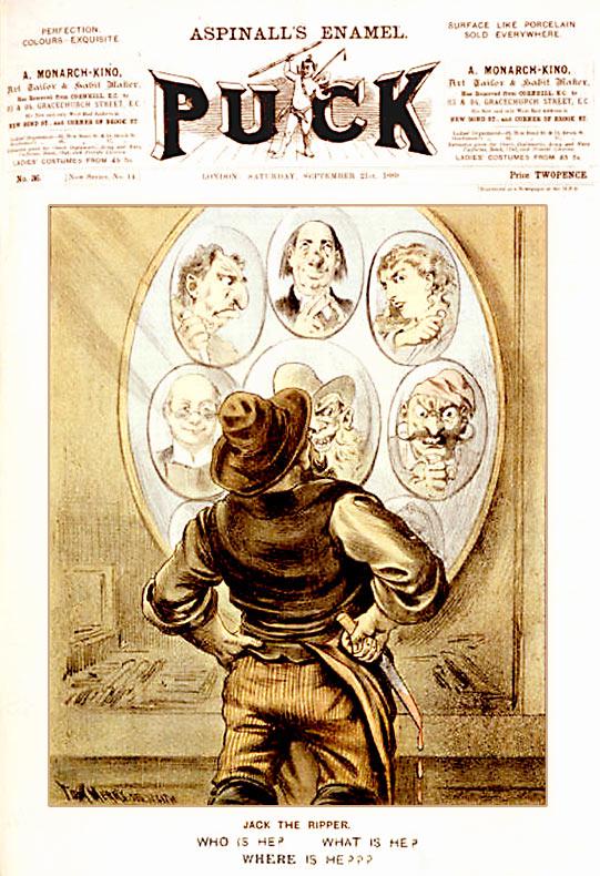 Caricatura de la revista Puck que especula sobre Jack el Destripador