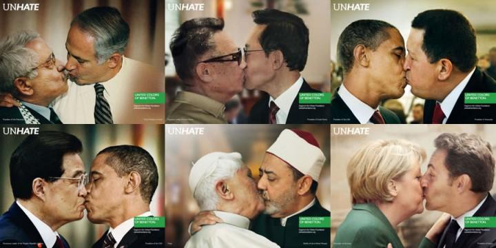 """""""Unhate"""" fue la última gran campaña lanzada por Benetton, en 2011. Ganó el Grand Prix en Prensa en el Festival de Publicidad de Cannes"""