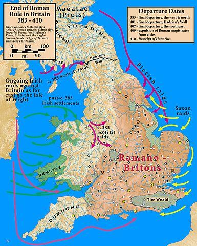 Mapa que muestra el fin del dominio romano de Britania