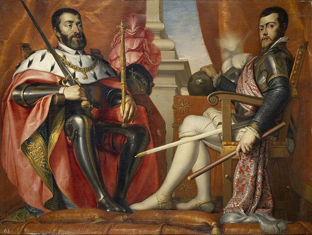 Carlos I y Felipe II por Antonio Arias Fernández