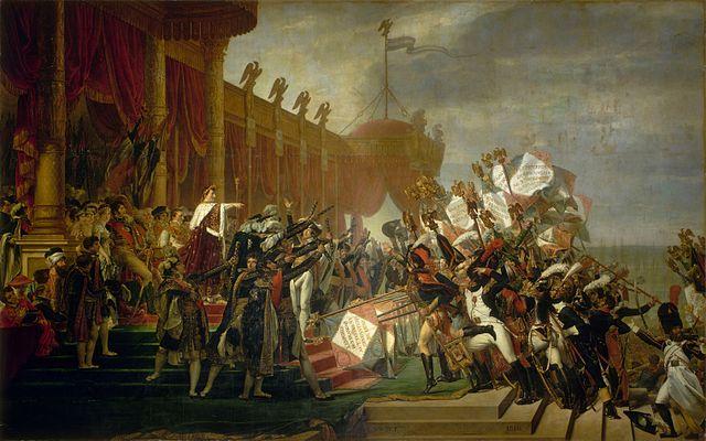Napoleón como Emperador, presumiblemente Paulina sale en el cuadro