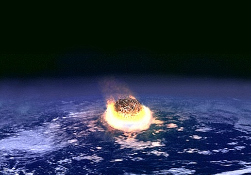 Representación del impacto del meteorito