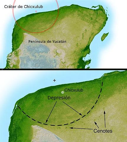 El cráter de Chixulub, como veis es dificil de apreciar