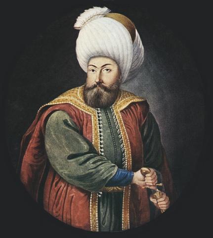 Osmán I, fundador de la Dinastía osmalí, de donde saldrían todos los gobernantes del imperio