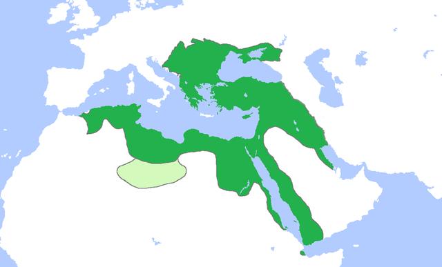 El Imperio Otomano en su máxima expansión