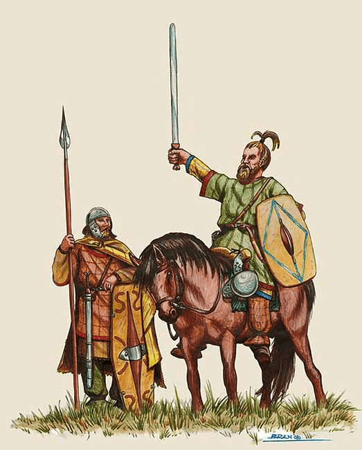 Imagen de guerreros cimbrios y teutones, sacada de www.arrecaballo.es