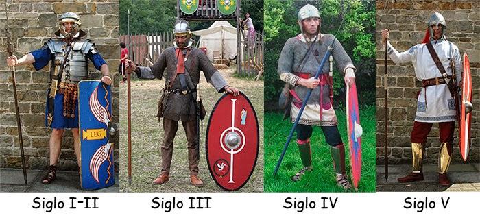 Evolución del legionario romano, sacado de http://amodelcastillo.blogspot.com/