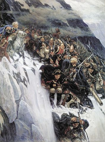 Suvórov y sus hombre atravesando Los Alpes