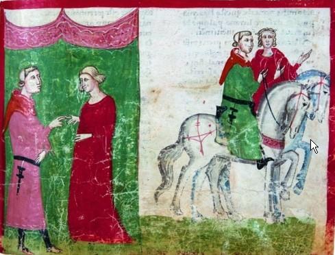 Miniatura de la época de Matilde con su segundo esposo, Güelfo
