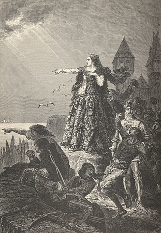 Juana de Flandes ve la flota inglesa llegando a Hennebont,