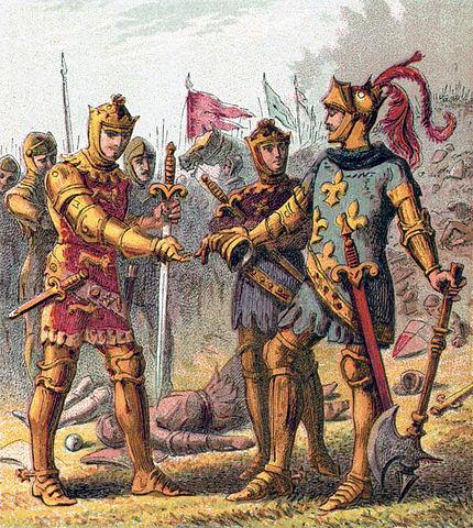 Eduardo aceptando la rendición de Juan el Bueno y su hijo