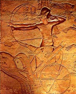 Relieve que muestra a Ramses II en la batalla