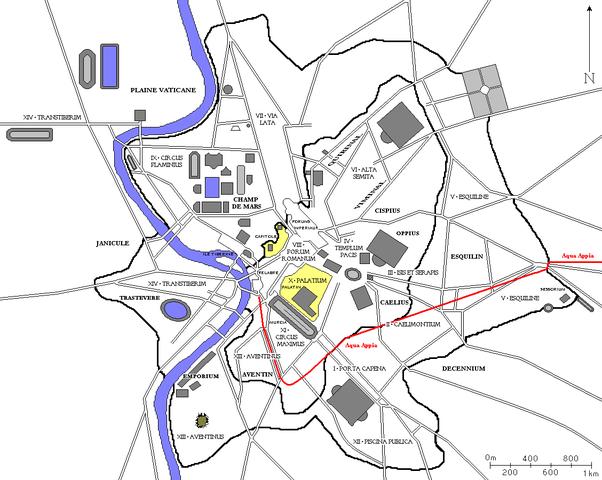 Recorrido del Aqua Appia en su momento en Roma