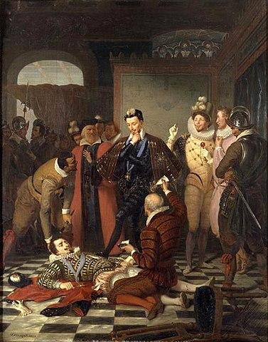 Enrique comprobando que Enrique de Guisa está muerto, cuadro de Charles Durupt