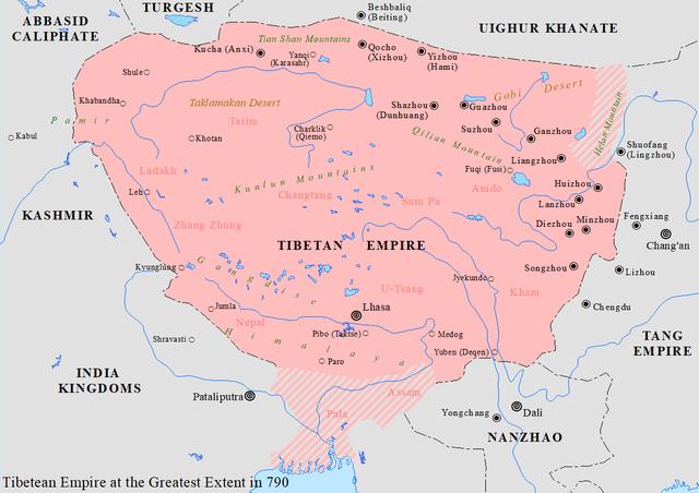 Mapa del Imperio Tibetano en el 790
